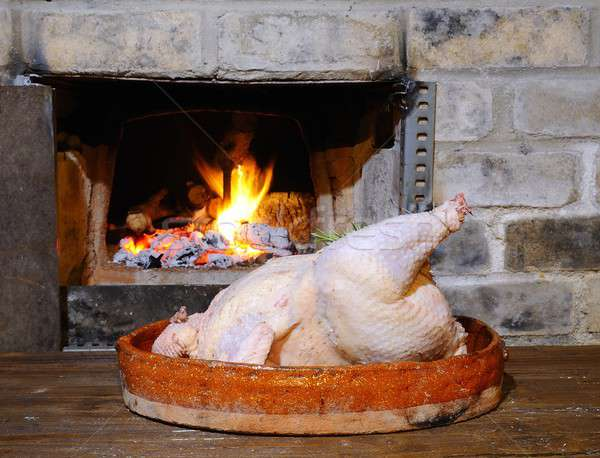 Turkey prepared to put in the oven.