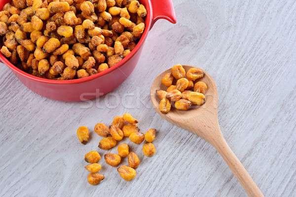 Torrado milho mesa de madeira cozinha comida semente Foto stock © asturianu