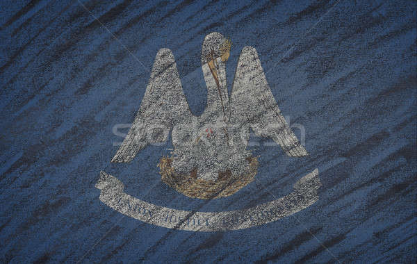 Louisiana flag painted with colored chalk on a blackboard.  Stock photo © asturianu