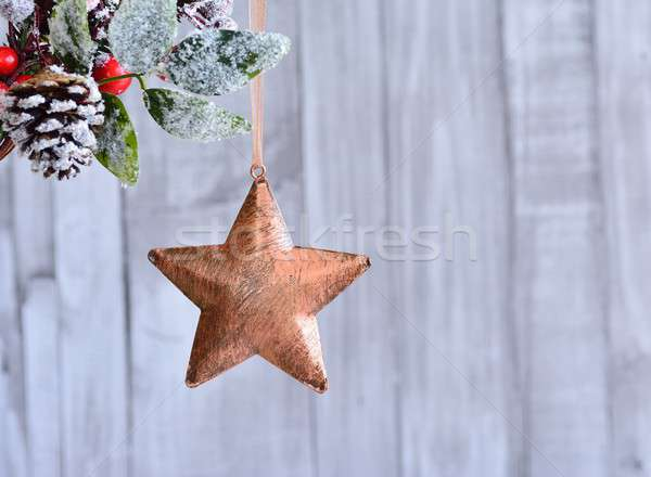 Christmas star hanging on holly berry. Stock photo © asturianu