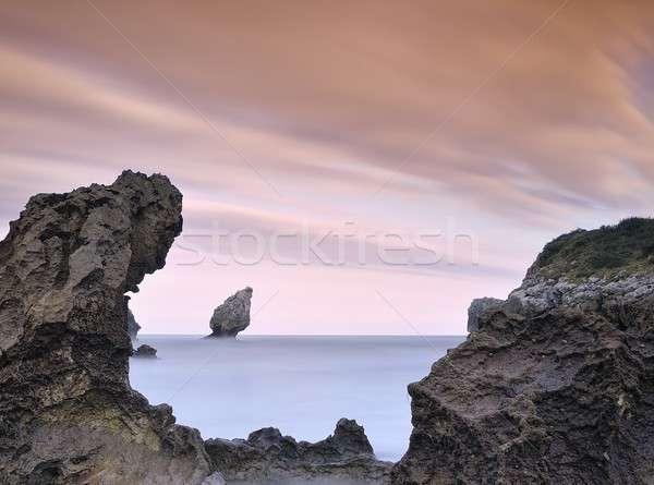 Plaj doğa manzara deniz okyanus gündoğumu Stok fotoğraf © asturianu