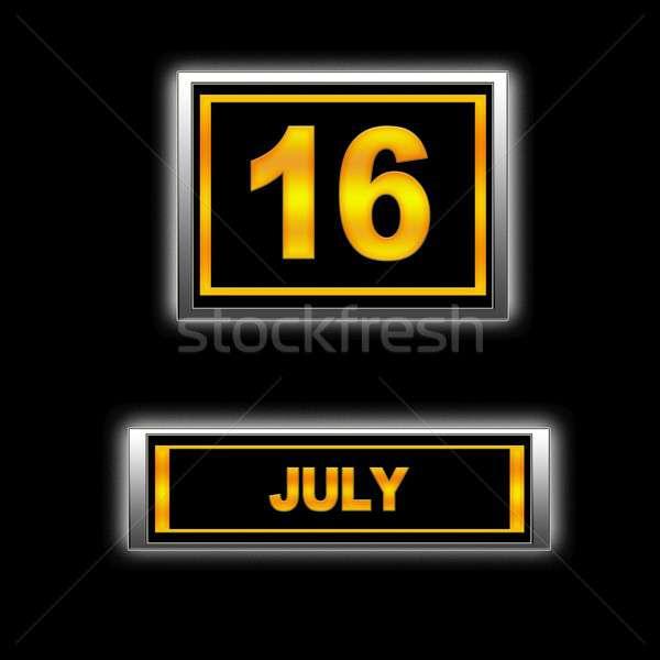 16 illustration calendrier éducation noir l'ordre du jour Photo stock © asturianu