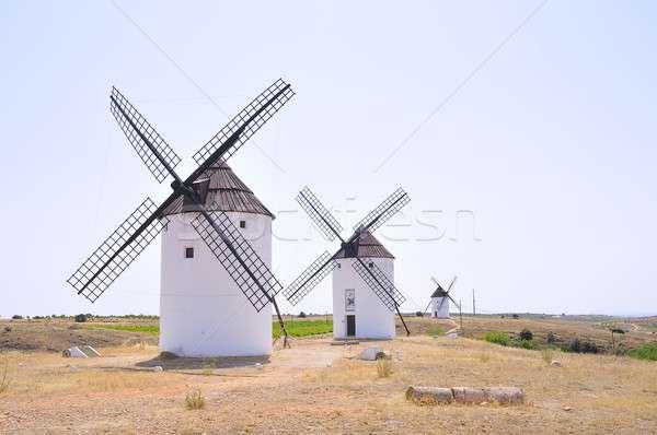 View on three windmills at field Stock photo © asturianu