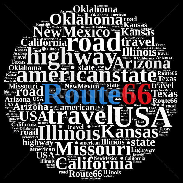 Stock photo: Word cloud on Route 66.