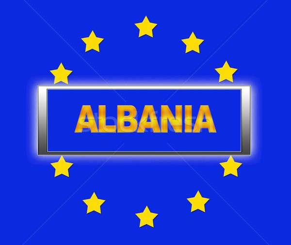 Albania palabra bandera Europa signo azul Foto stock © asturianu
