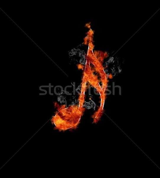 Musical note on fire. Stock photo © asturianu