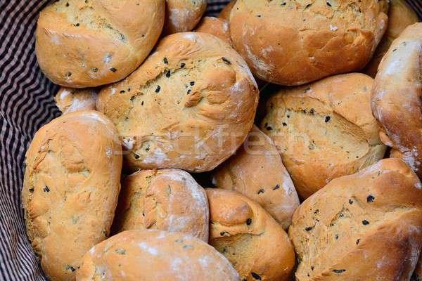 Basket of fresh baked bread Stock photo © asturianu