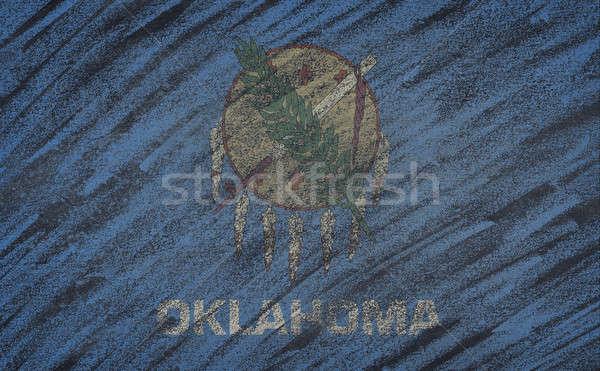 Oklahoma vlag geschilderd gekleurd krijt Blackboard Stockfoto © asturianu