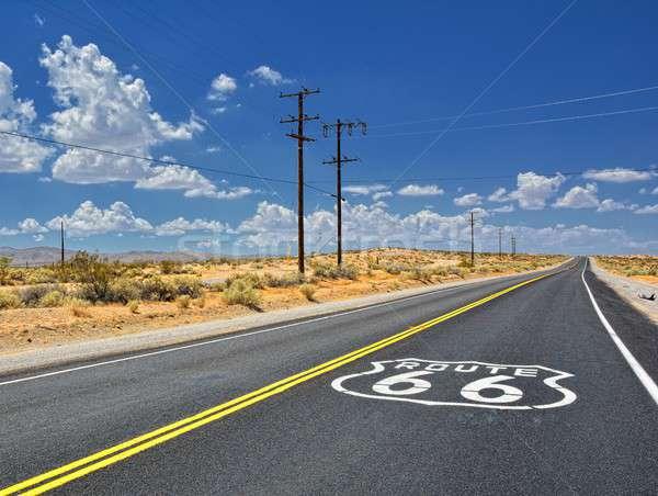 ルート66 道路 幹線道路の標識 アスファルト カリフォルニア 道路 ストックフォト © asturianu