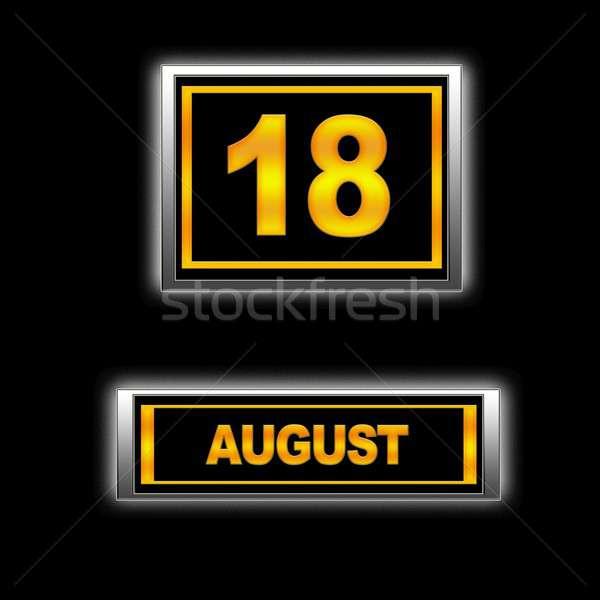 Augusztus 18 illusztráció naptár oktatás fekete Stock fotó © asturianu