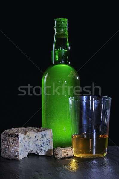 Elma şarabı peynir gıda elma cam arka plan Stok fotoğraf © asturianu