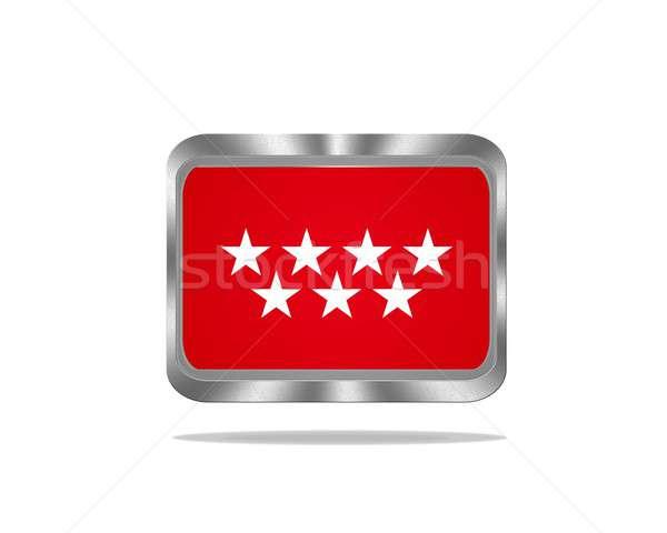Metal Madryt banderą ilustracja biały czerwony Zdjęcia stock © asturianu