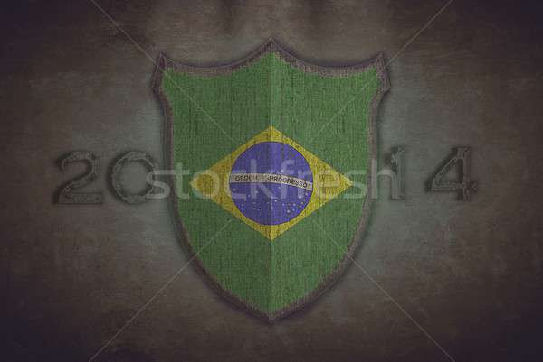 Shield with Brazil 2014 flag. Stock photo © asturianu