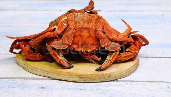 Veludo caranguejo cozinhar mesa de madeira cozinha peixe Foto stock © asturianu