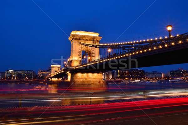 Zincir köprü tuna nehir Budapeşte Macaristan Stok fotoğraf © asturianu