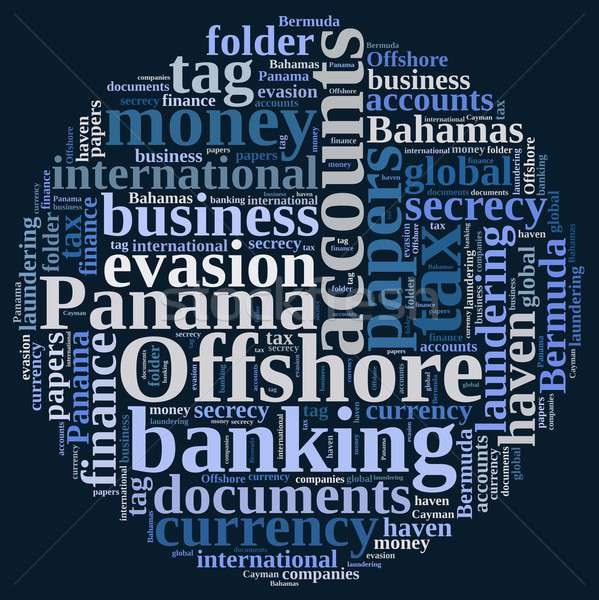 Woordwolk offshore bedrijven illustratie geld ontwerp Stockfoto © asturianu