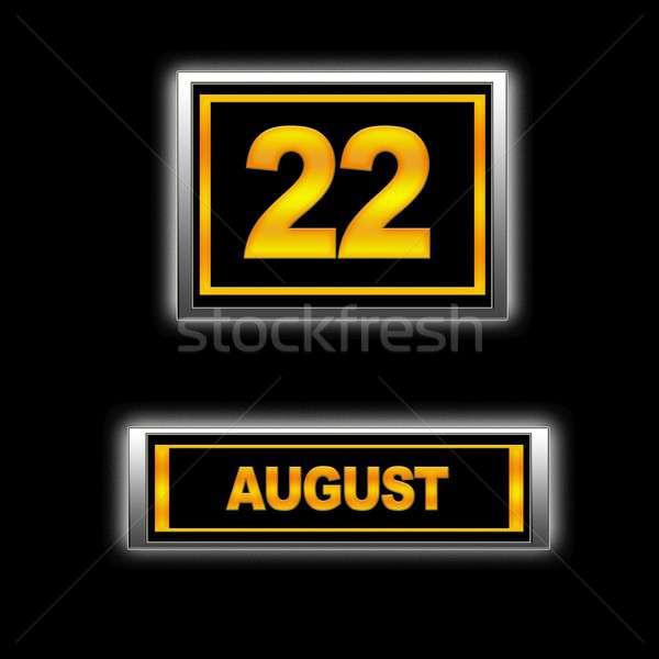 Agosto 22 ilustração calendário educação preto Foto stock © asturianu