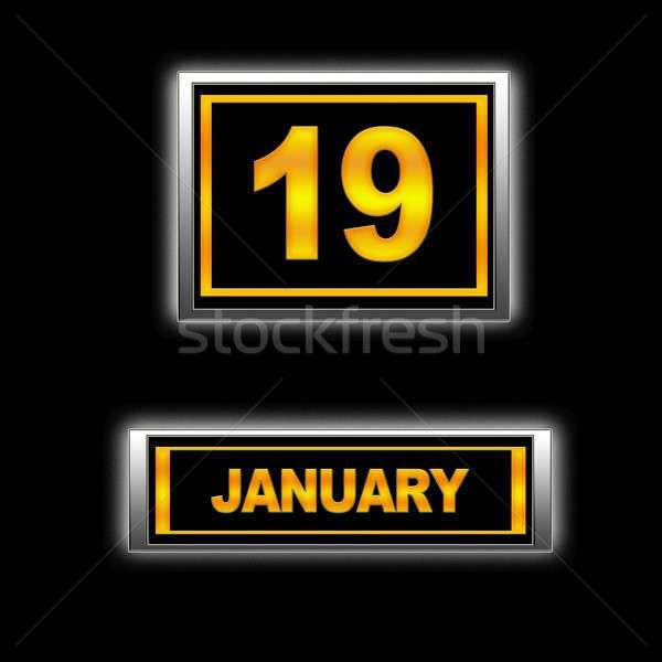 19 illusztráció naptár oktatás fekete terv Stock fotó © asturianu