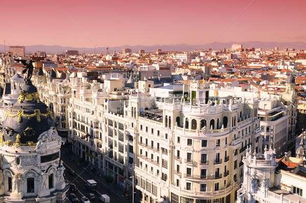 Świt Madryt Hiszpania miasta wygaśnięcia ulicy Zdjęcia stock © asturianu