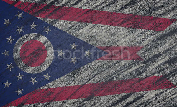 Ohio flag painted with colored chalk on a blackboard.  Stock photo © asturianu