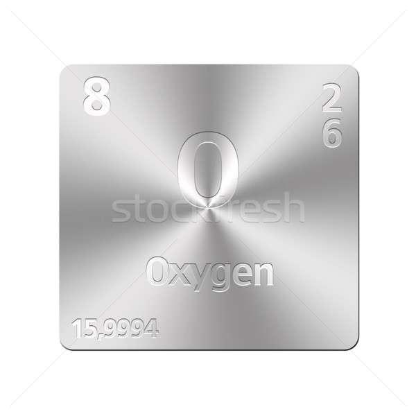 Oxigênio isolado metal botão educação Foto stock © asturianu