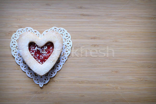 Cookie with red jelly in form of heart Stock photo © asturianu