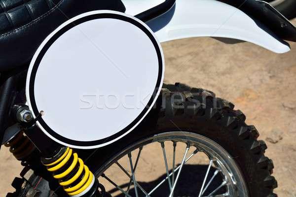 Motocykl biały motocykla pokładzie Zdjęcia stock © asturianu