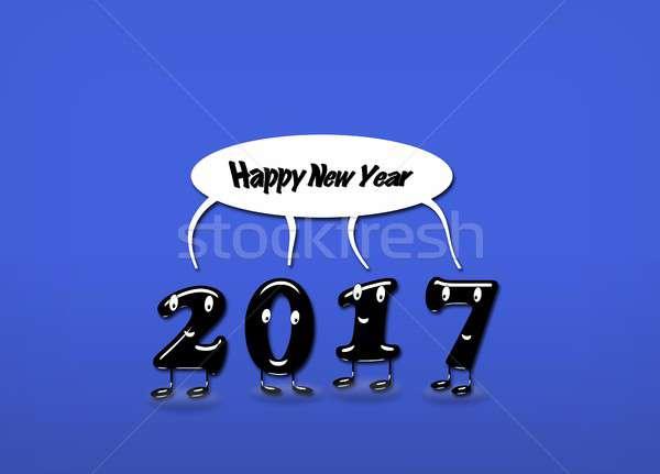 Rok nowy rok cartoon mowy tekst Zdjęcia stock © asturianu