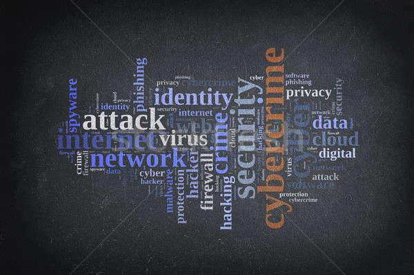 Kelime bulutu tahta Internet güvenlik bulut Stok fotoğraf © asturianu