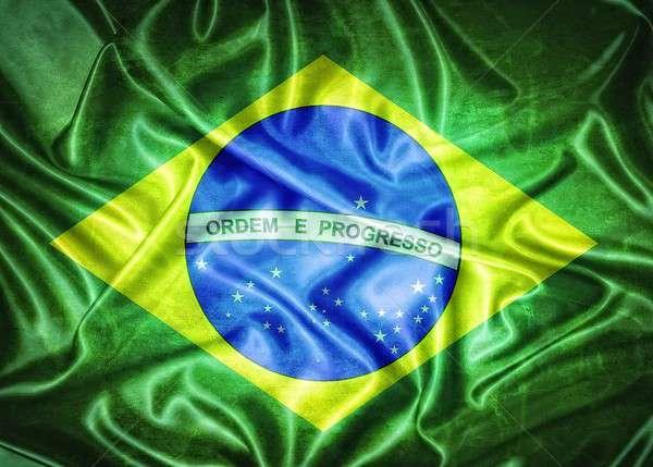 Vintage Brazylia banderą ilustracja starych Zdjęcia stock © asturianu