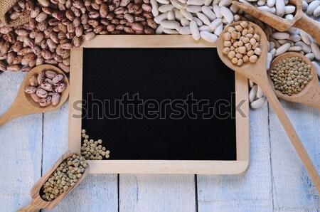 Stock fotó: Különböző · gabonafélék · kék · fa · asztal · iskolatábla · keret