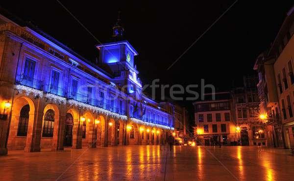 şehir gece Noel tatil turizm kare Stok fotoğraf © asturianu