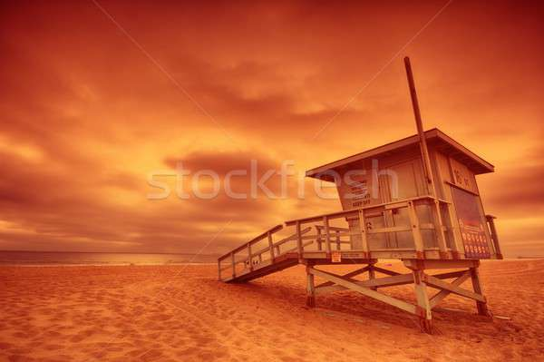 Lifeguard tower at sunset at Hermosa Beach, California Stock photo © asturianu