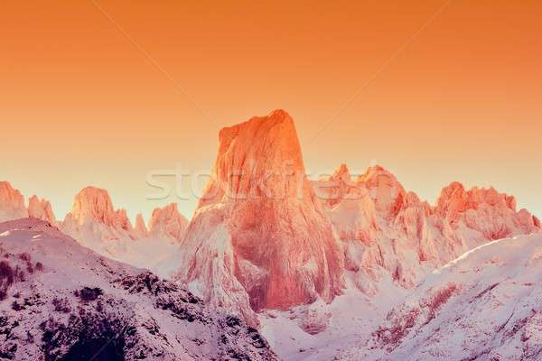 Naranjo de Bulnes at dawn in Picos de Europa. Stock photo © asturianu