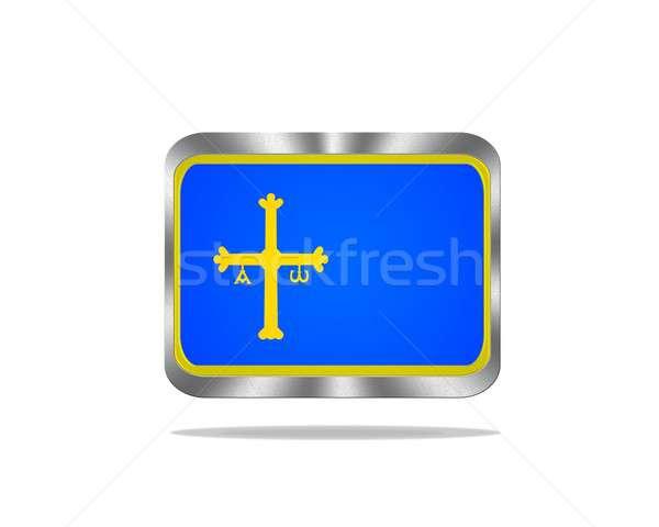 Metal Asturias flag. Stock photo © asturianu