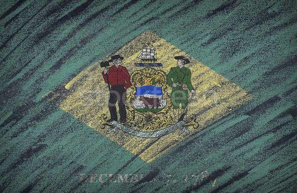 Stockfoto: Delaware · vlag · geschilderd · gekleurd · krijt · Blackboard