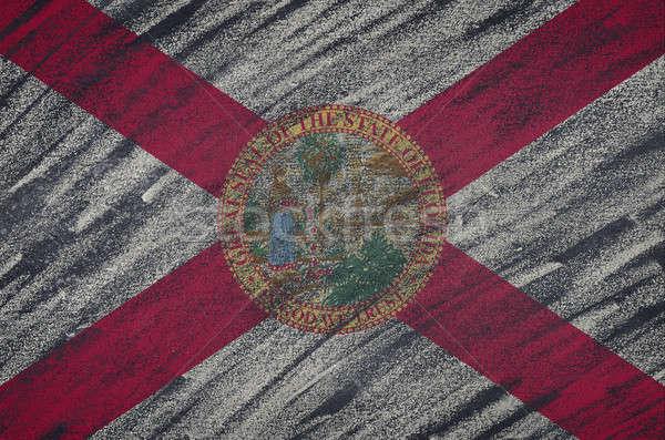 Florida bayrak boyalı renkli tebeşir tahta Stok fotoğraf © asturianu