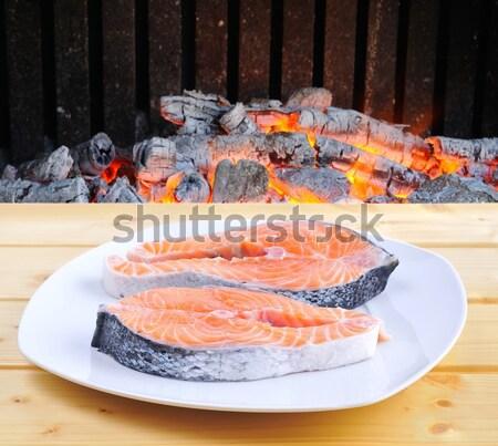 Witte tonijn tabel barbecue achtergrond bar Stockfoto © asturianu