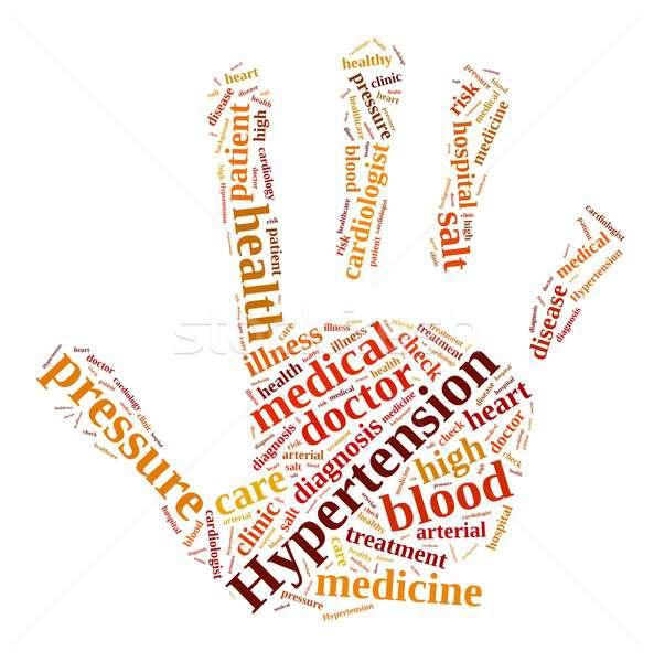Foto stock: Hipertensão · ilustração · nuvem · da · palavra · médico · coração · sangue