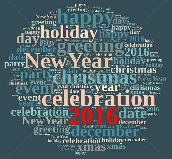Nowy rok 2016 ilustracja chmura słowo strony szczęśliwy Zdjęcia stock © asturianu