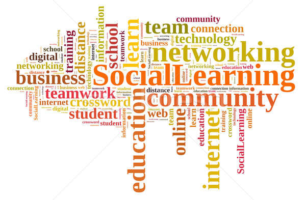 Word cloud about Social Learning. Stock photo © asturianu