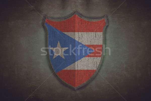 Schild Puerto Rico vlag illustratie oude achtergrond Stockfoto © asturianu