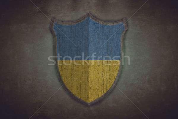 Escudo Ucrânia bandeira ilustração velho fundo Foto stock © asturianu