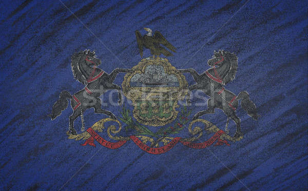 Pennsylvania zászló festett színes kréta iskolatábla Stock fotó © asturianu