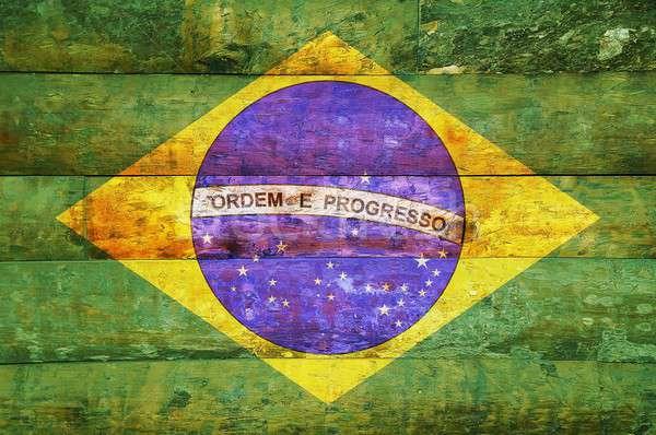Banderą Brazylia ilustracja drewna Zdjęcia stock © asturianu