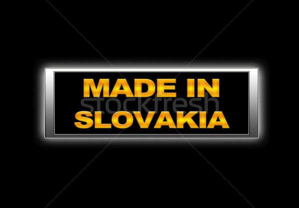 Foto stock: Eslováquia · assinar · negócio · metal · espaço