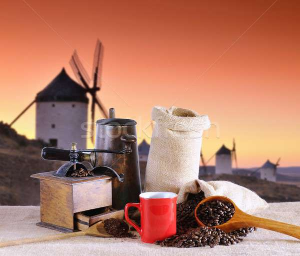 Coffee beans and old windmills. Stock photo © asturianu