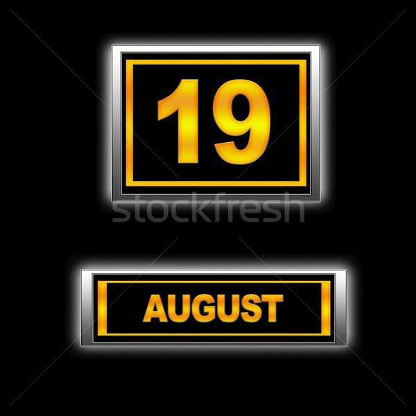 Stock fotó: Augusztus · 19 · illusztráció · naptár · oktatás · fekete