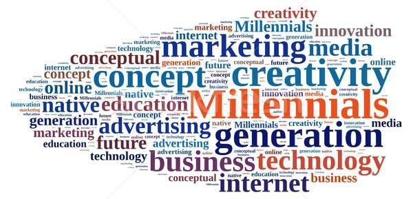 Word cloud relating to Millennials. Stock photo © asturianu