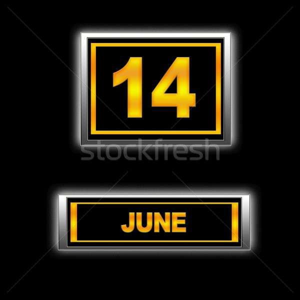 Photo stock: 14 · illustration · calendrier · design · noir · l'ordre · du · jour